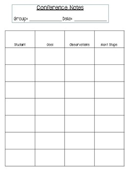 conference notes template by melissa newman teachers pay teachers