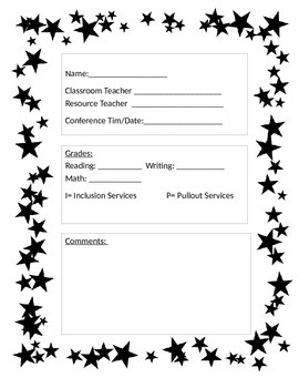 Conference Notes for Parents