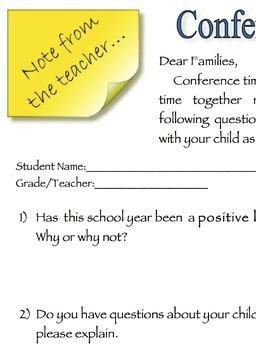 Conference Questionnaire for Parents