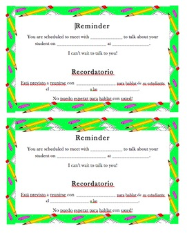 Conference Reminder English and Spanish (Editable)