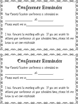 Conference Reminder Sheet and Conference Summary