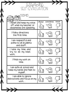 Conference Reminder Sheets and Student Self evaluation