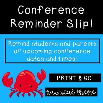 Conference Reminder Slip Nautical Theme