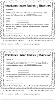 Conference Reminder Slips and Teacher Parent Notes Spanish and English