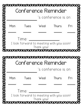 Conference Reminder and Parent Note to Student! Simple and Easy Printable