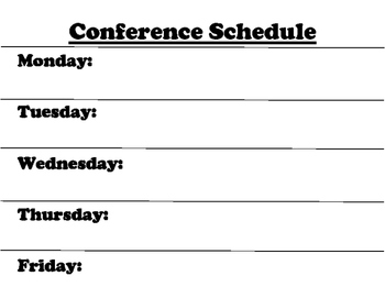Conference Schedule Chart