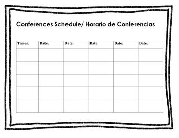 Conference Schedule Sheet