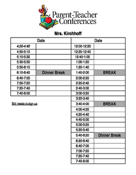 Conference Schedule and Bilingual Slips for Sign-Ups, Confirming, and Reminders
