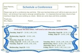 Conference Scheduling Note to Parents