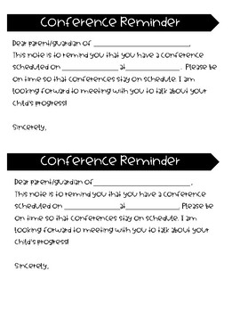 Conference Sheets