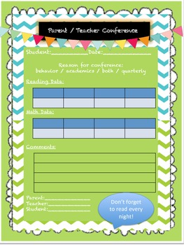 Conference Sheets and Goal Setting Sheets
