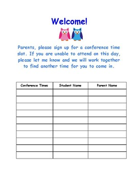 Conference Sign Up Sheet
