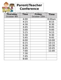 Conference Sign Up Sheet EDITABLE