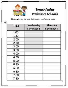 conference sign up sheet editable by cristin elmi tpt