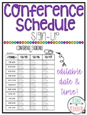 Conference Sign-up EDITABLE Time & Date Sheet