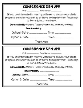 Conference Sign up/Request ENGLISH AND SPANISH