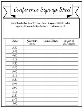 Conference Sign-up Sheet