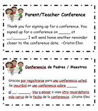 Conference Slips-- Editable (English and Spanish!)