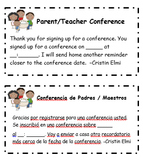 Conference Slips-- Editable (English and Spanish!)