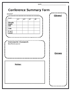 Conference Summary Form- editable