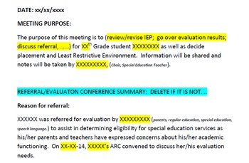 Conference Summary Note Template for Special Education