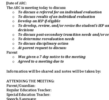 Conference Summary Template for Special Education