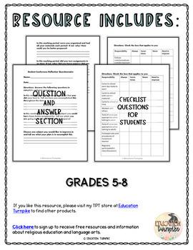 Parent Teacher Conference Student Reflection Form