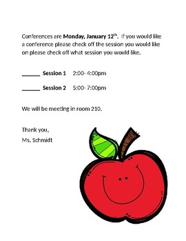 Conference choice form for parents