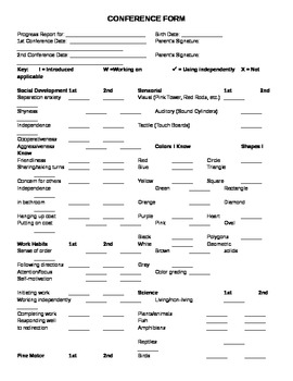 Conference form for Montessori students