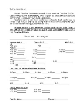 Conference sign up form for parents