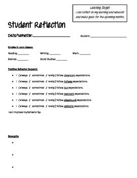 Parent-Teacher Conference/ Parents' Evening: Student Reflection