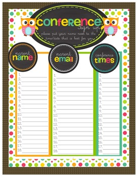 Conferences are a Hoot! Resources to help keep organized for parent conferences