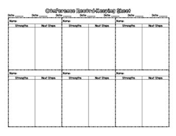 Conferencing Data Recording Sheet