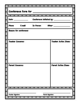 Conferencing Forms for Teachers, Parents, Paraeducators, & Admins (Fillable)