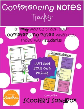 Conferencing Notes Tracker (EDITABLE) with Post-Its