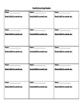 Conferencing Sheets for Writing