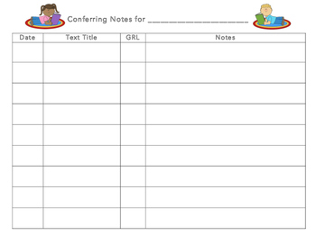 Conferring Notes Template