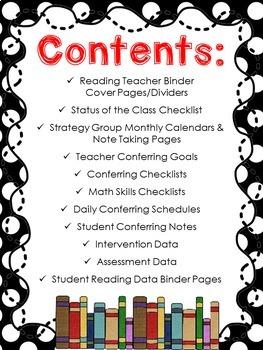 Data Tracking Workshop Organizer: EDITABLE Reading Teacher Binder