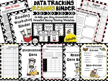 Data Tracking Workshop Organizers: Reading, Writing & Math BUNDLE (zebra)