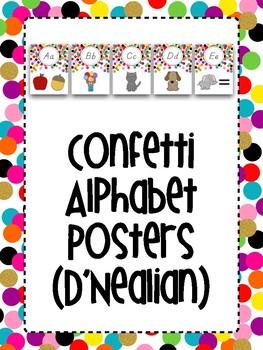 Confetti Alphabet Posters (D'Nealian)