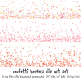 Confetti Border Clip Art Images in Pastel Colors: Coral, Pink, Turquoise