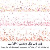 Confetti Border Clip Art Images in Pastel Colors: Coral, P