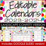 Confetti Calendar 2020-2021 Landscape Editable for PowerPt