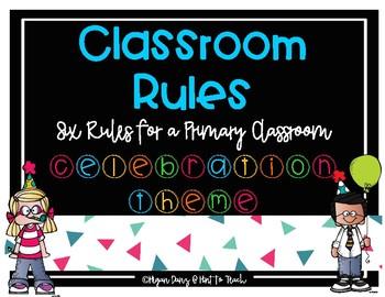 Confetti Celebration Theme Classroom Rules Mini Posters