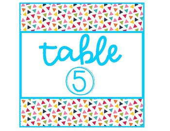 Confetti Celebration Theme Table Group Signs