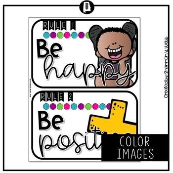 Confetti Classroom Rules Posters
