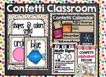 Confetti Classroom Bundle Calendar Number Signs Letters Shapes Colors