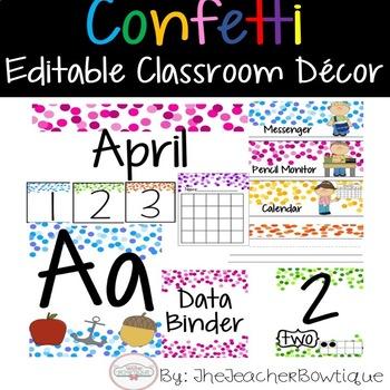 Confetti Editable Classroom Decor