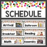 Confetti Classroom Decor Schedule Cards