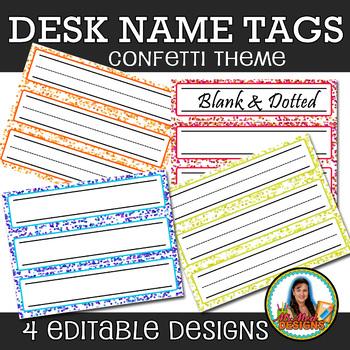 Confetti Desk Name Plates (Editable File) Set of 24